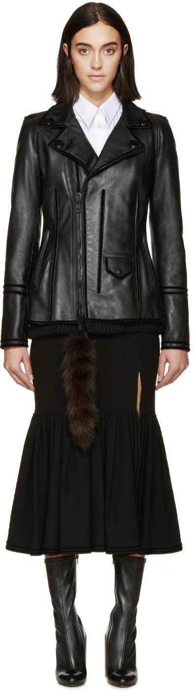 Givenchy Black Leather Raccoon Tail Jacket