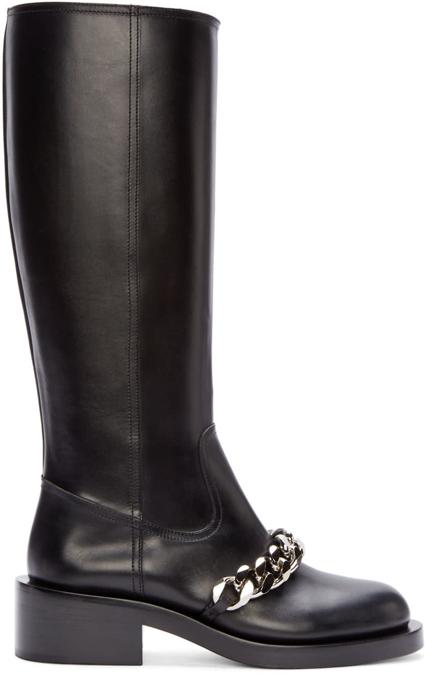 Givenchy Black Leather Chain Pira Tall Boots