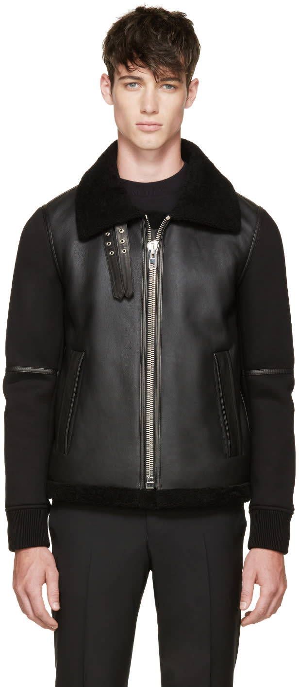 Givenchy Black Shearling and Neoprene Biker Jacket