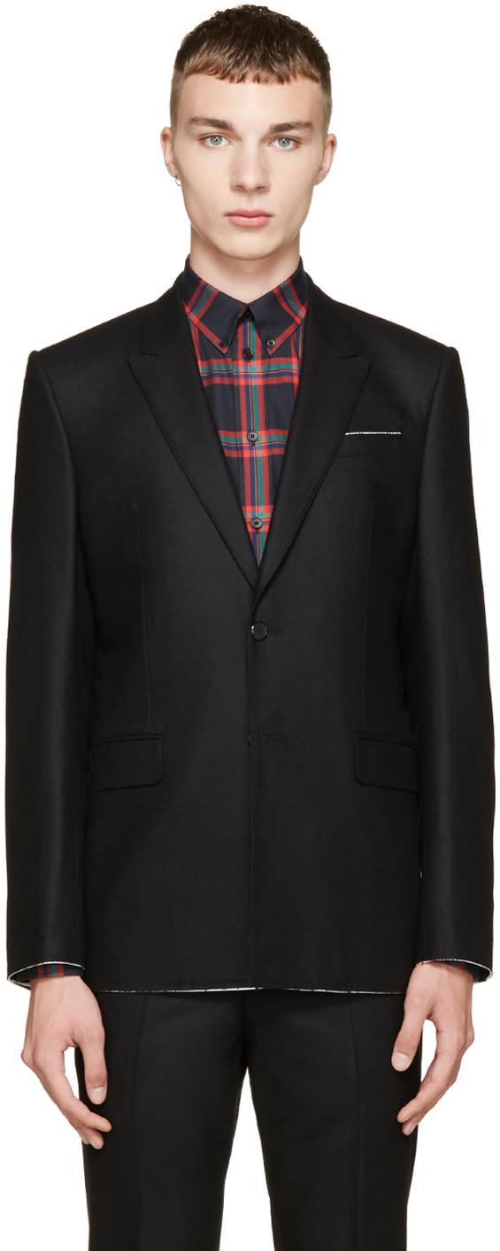 Givenchy Black Raw Flannel Blazer