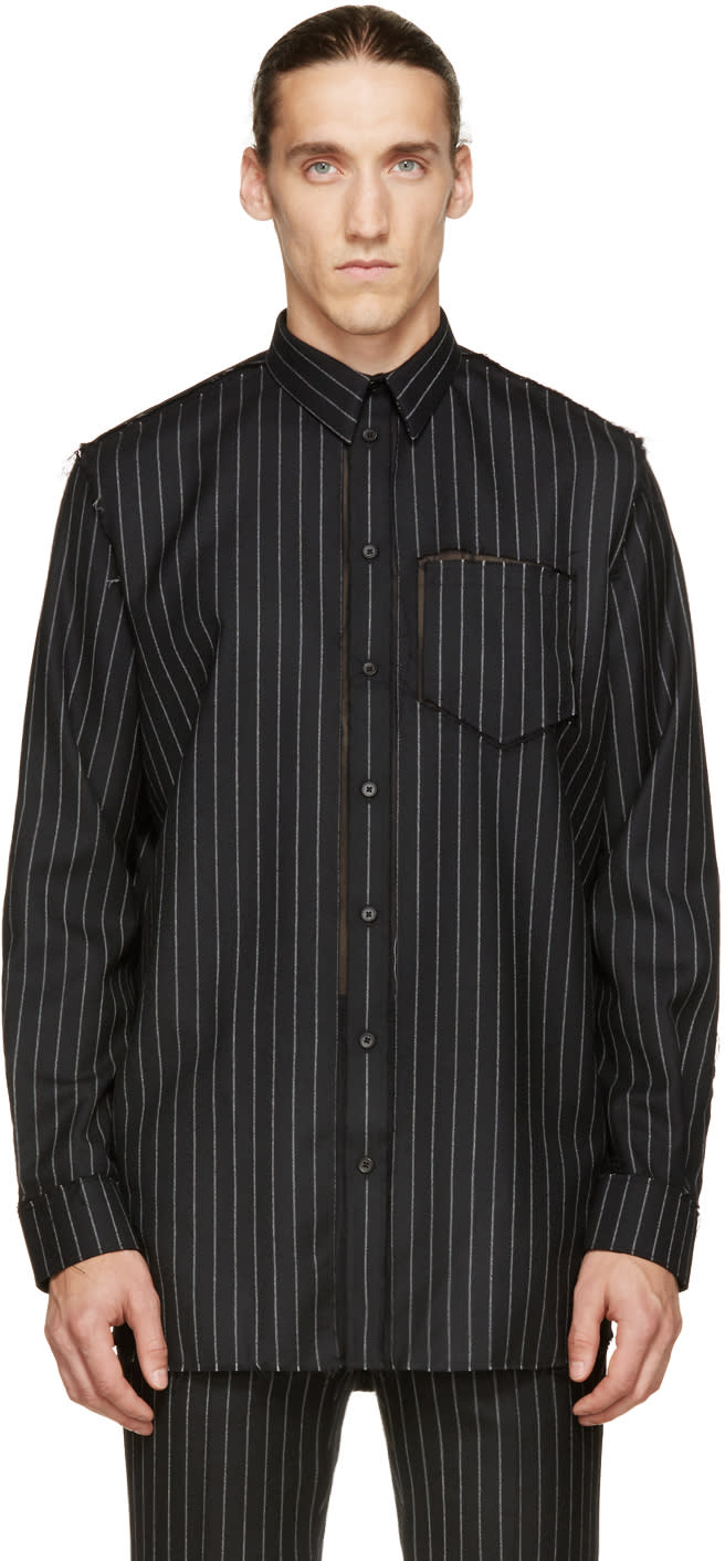 Givenchy Black Deconstructed Pinstripe Shirt