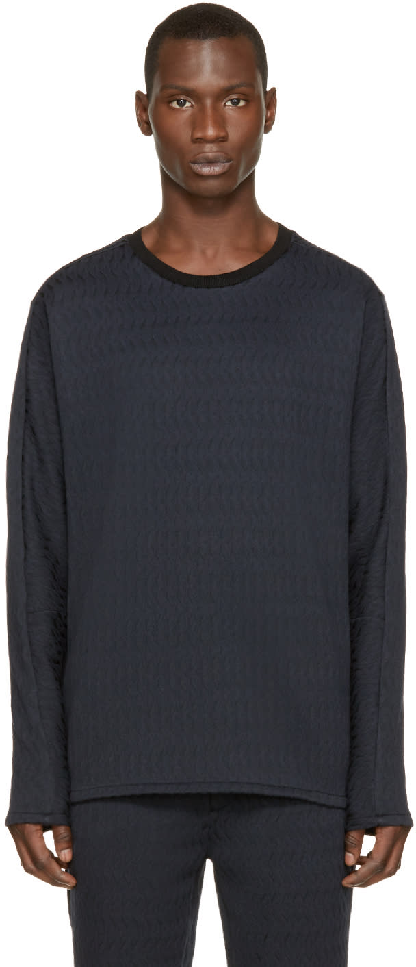 3.1 Phillip Lim Navy and Black Brocade Pullover