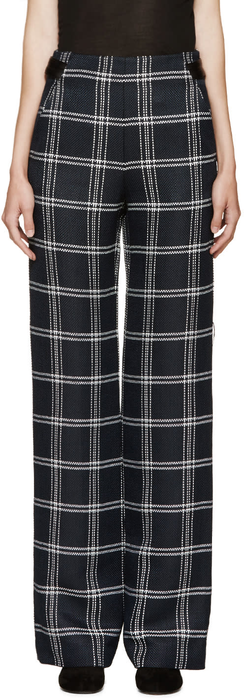 Proenza Schouler Navy and White Plaid Pants
