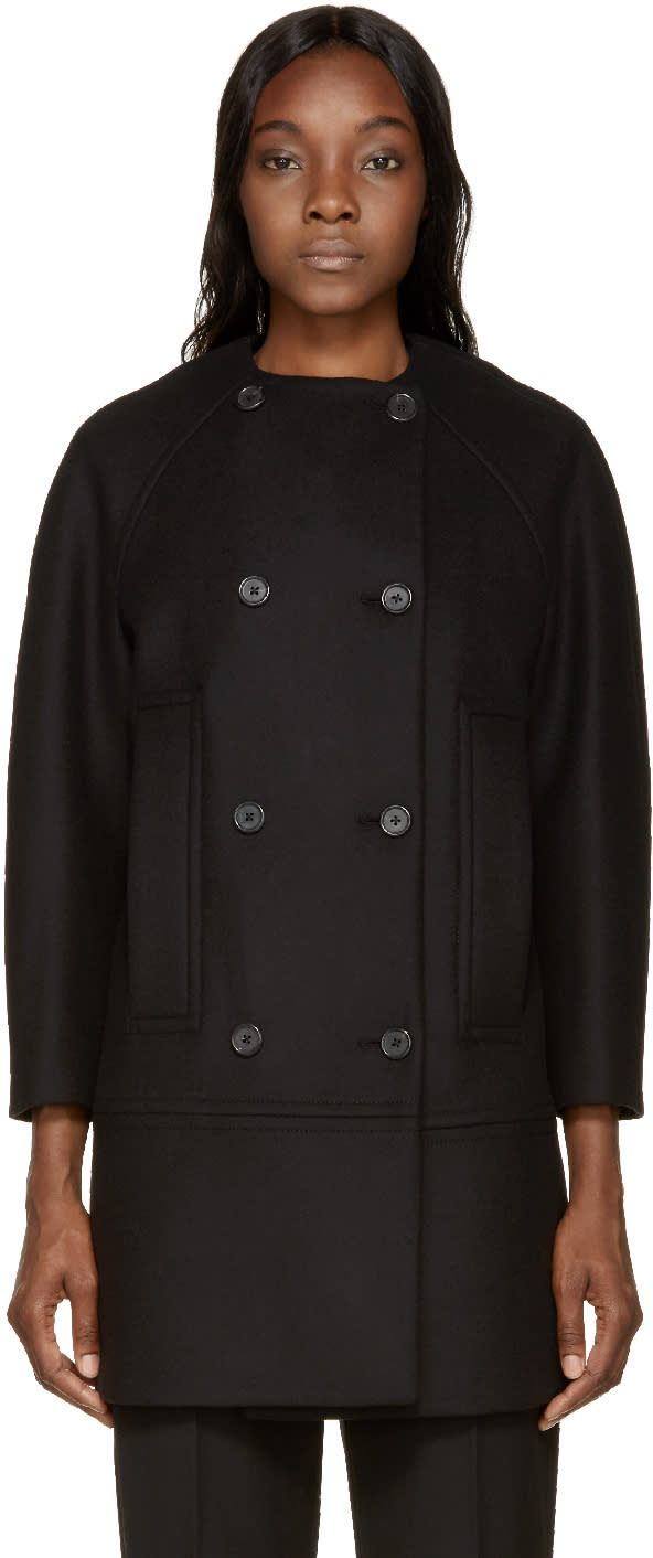 Proenza Schouler Black Double-breasted Collarless Coat