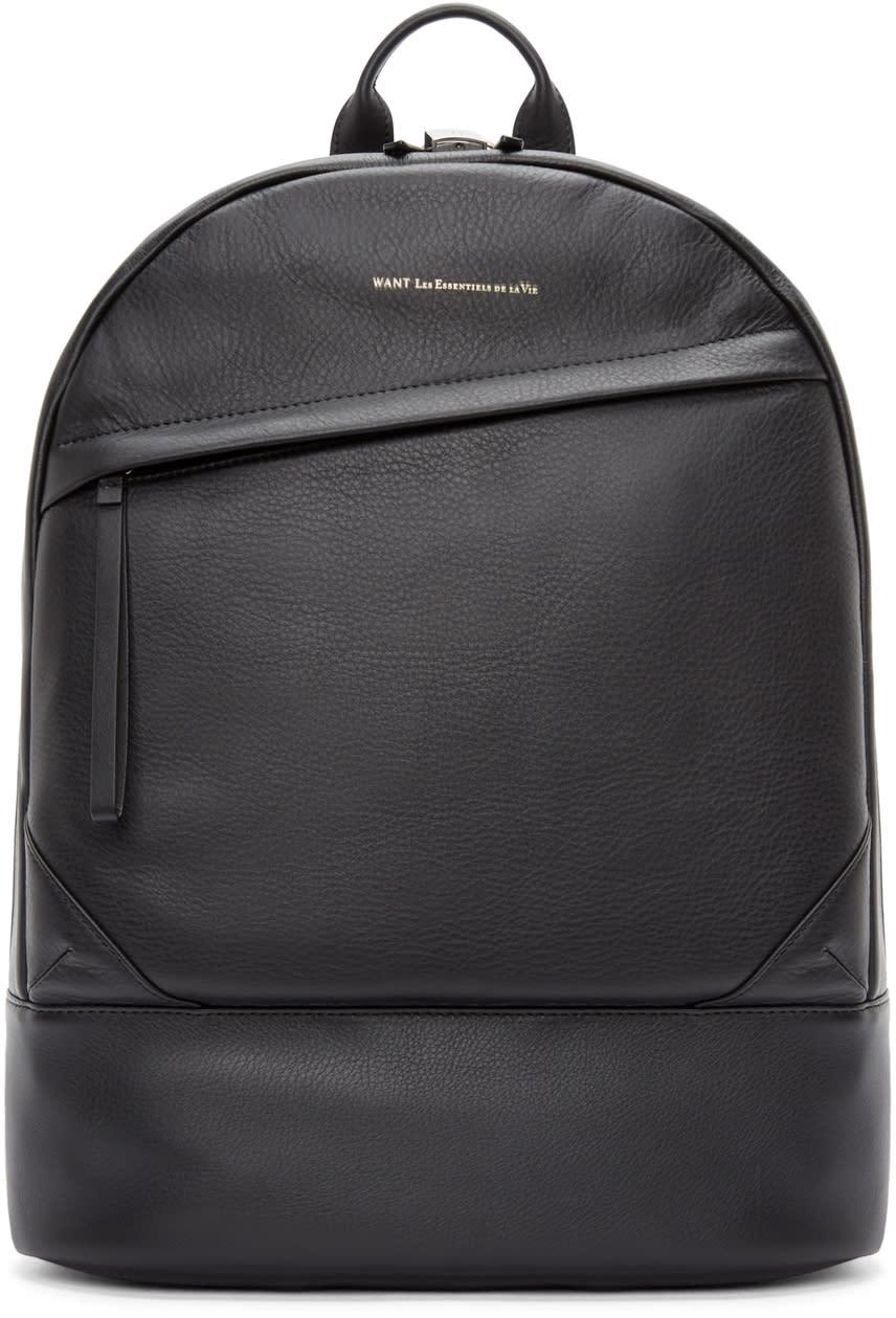 Want Les Essentiels De La Vie Black Leather Kastrup Backpack