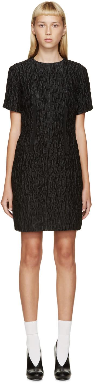 Carven Black Waffled Jacquard Dress