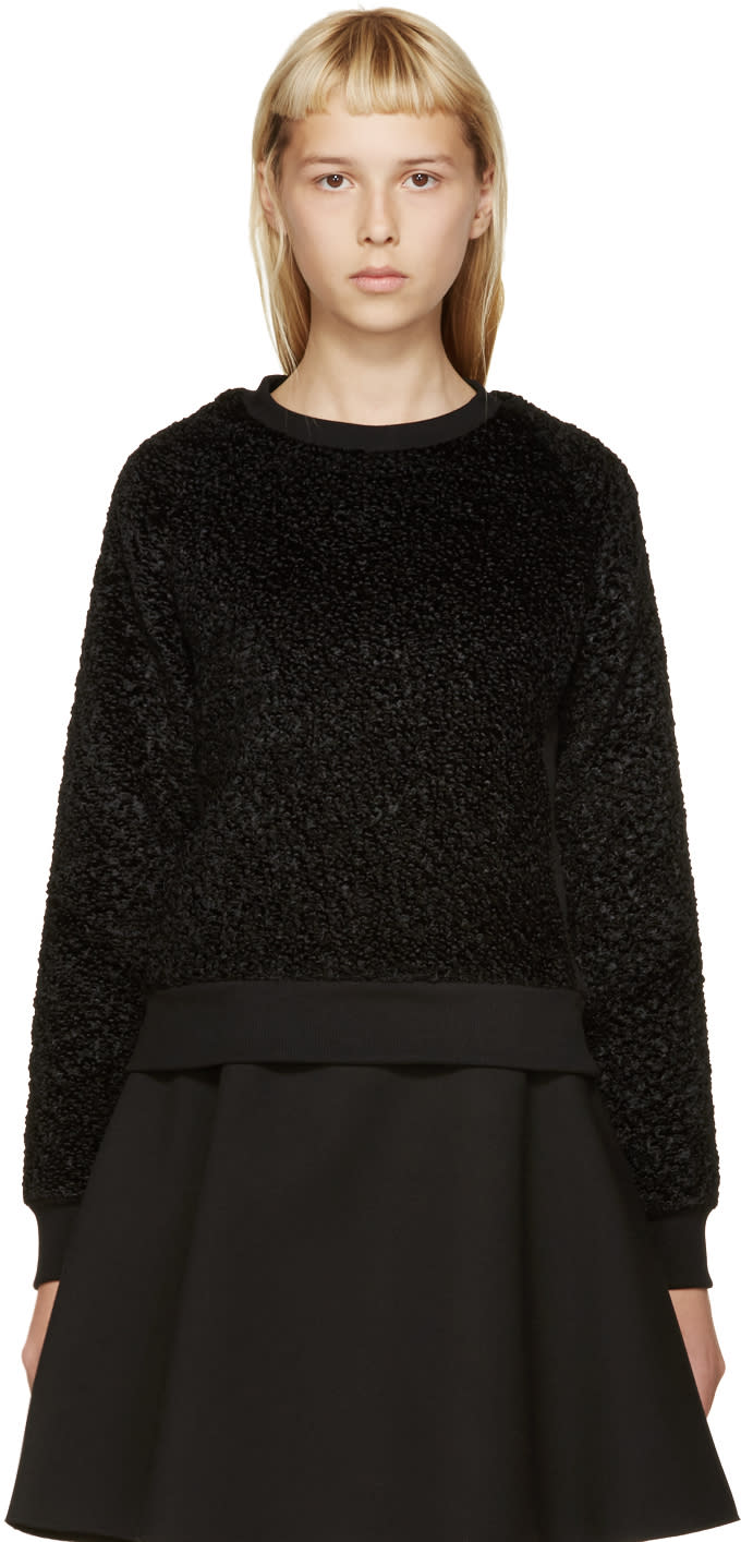 Carven Black Faux-astrakhan Sweater