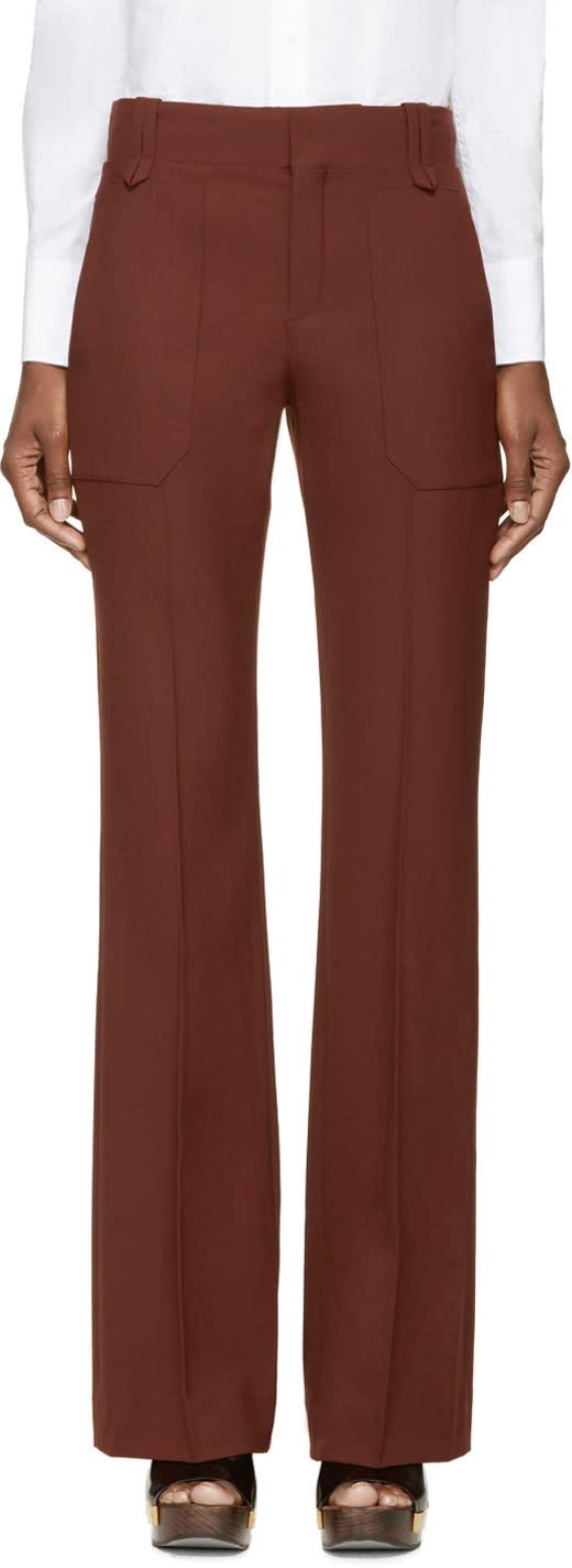 Chloe Maroon Wool Trousers