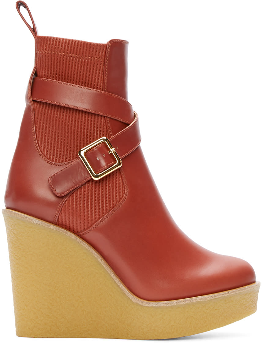 Chloé Red Leather Buckle Platform Boots