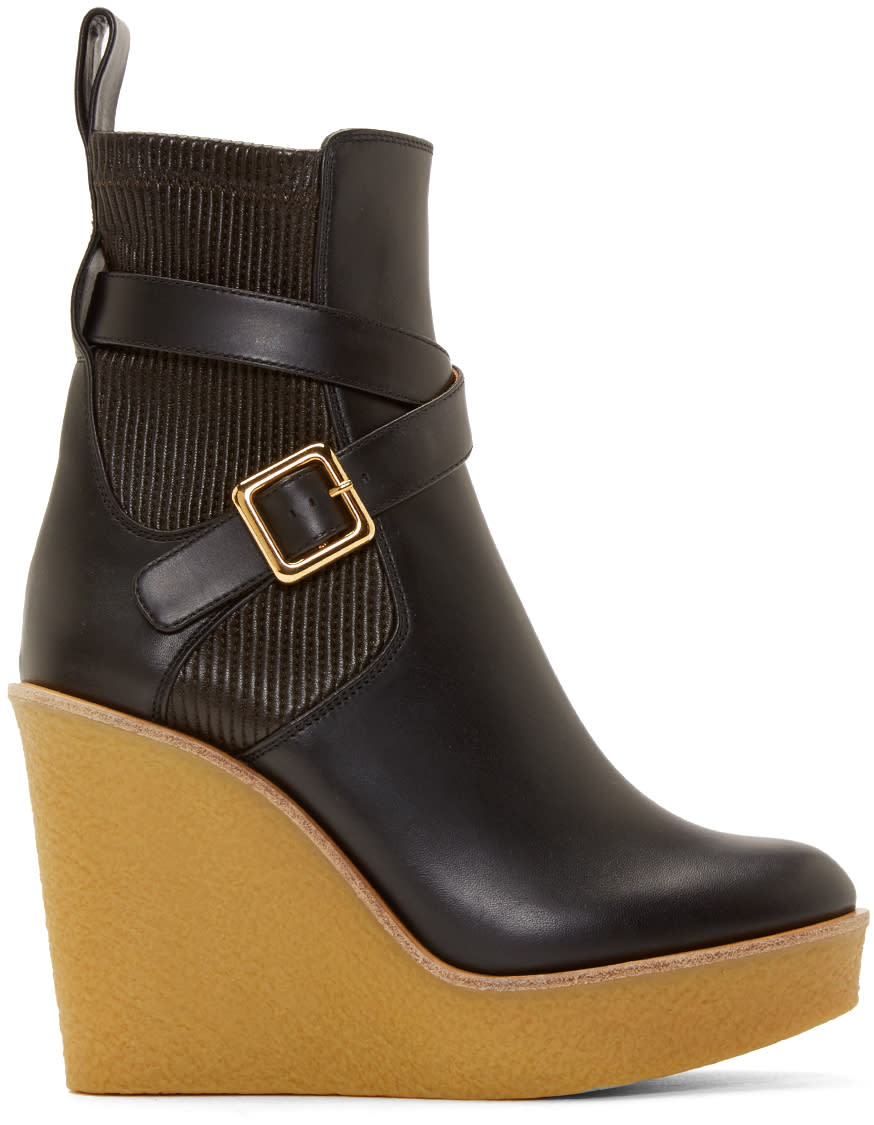 Chloé Black Leather Buckle Platform Boots