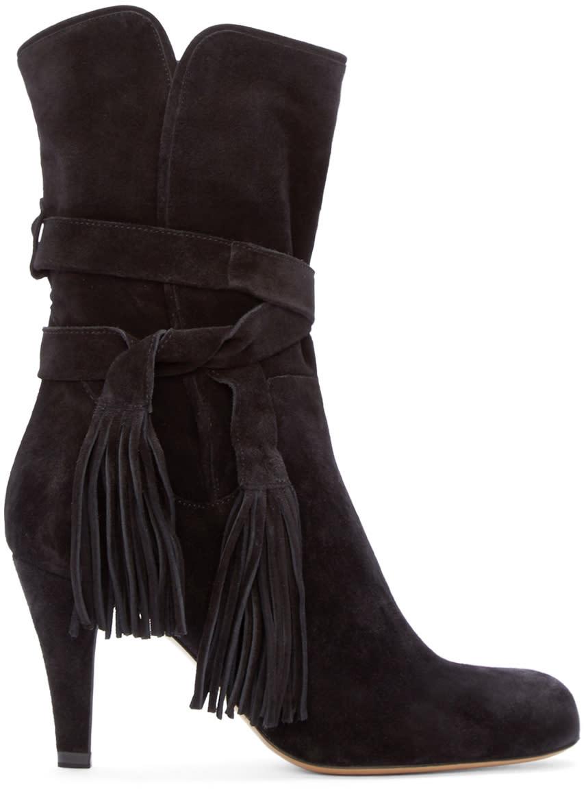 Chloé Black Suede Fringe Ankle Boots