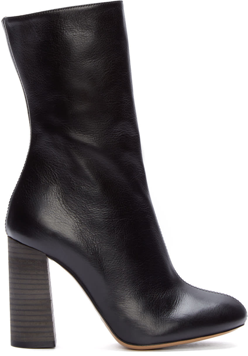 Chloé Black Leather Mid-calf Boots