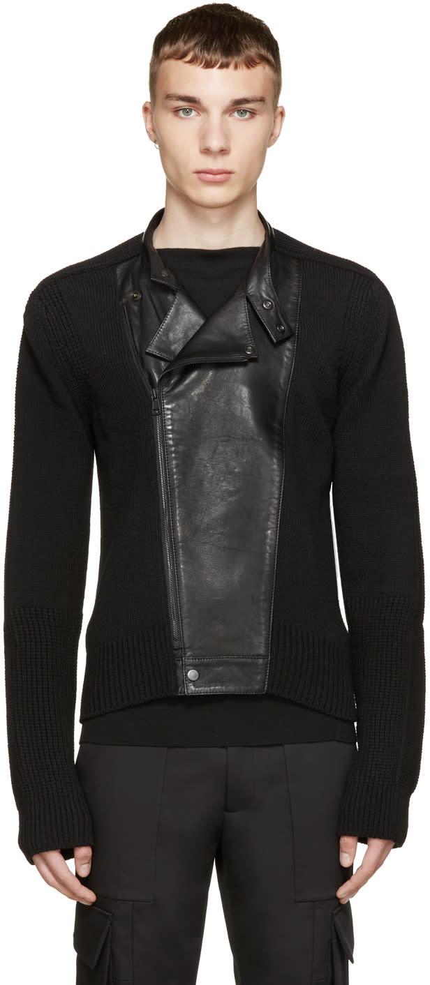 Juun.j Black Knit and Leather Biker Sweater