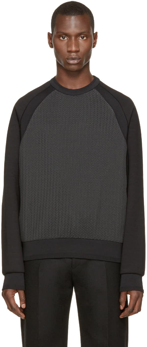 Juun.j Black and Grey Chevron Pullover