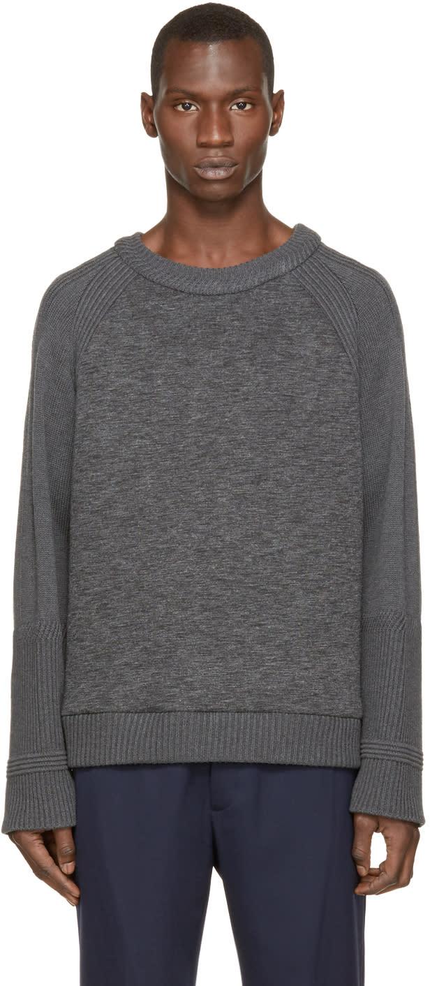 Juun.j Grey Neoprene and Knit Sweater