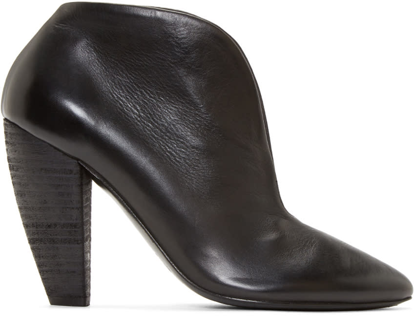 Marsell Black Leather Cleavage Ankle Boots