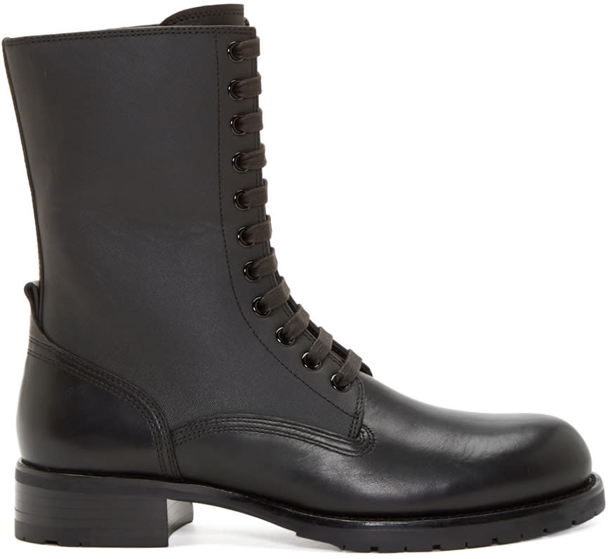 Pierre Balmain Black Leather Panelled Combat Boot