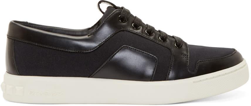 Pierre Balmain Black Paneled Low-top Sneakers