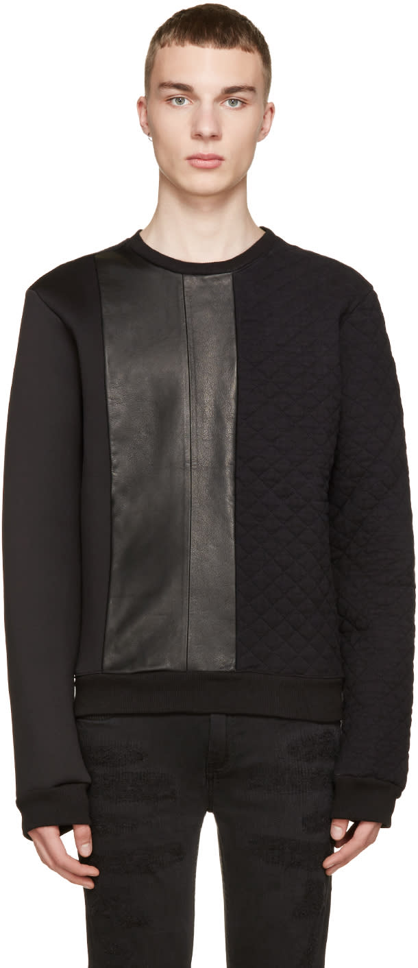 Pierre Balmain Black Neoprene and Leather Quilted Sweatshirt
