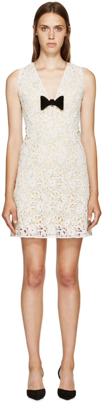 Burberry Prorsum White and Yellow Floral Macrame V-neck Dress at SSENSE
