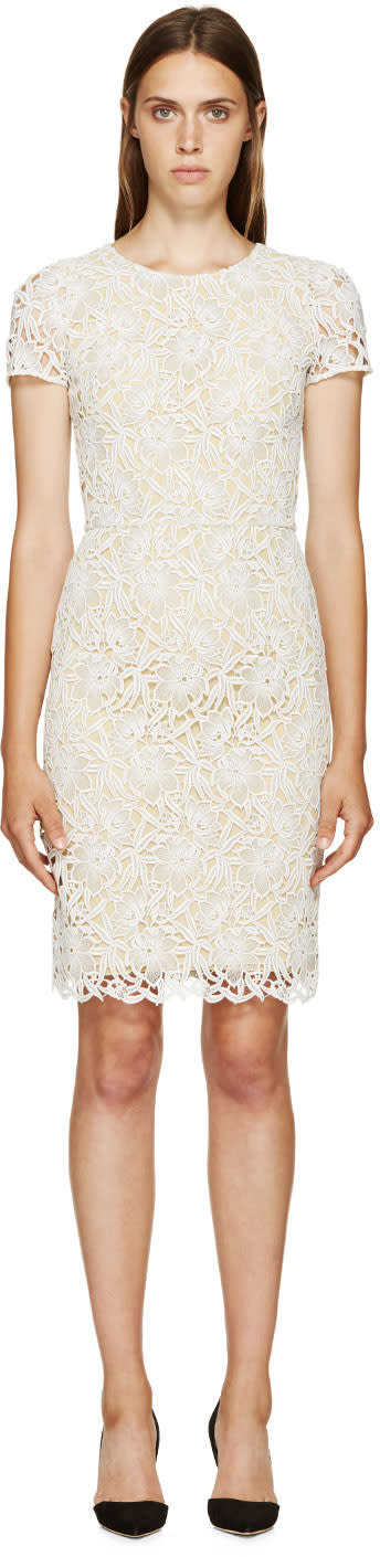 Burberry Prorsum White and Yellow Floral Macrame Dress at SSENSE