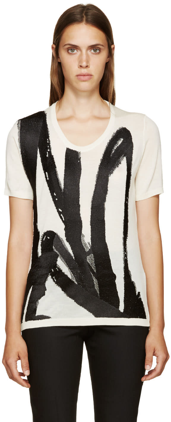 Burberry Prorsum Ivory and Black Embroidered Knit T-shirt at SSENSE
