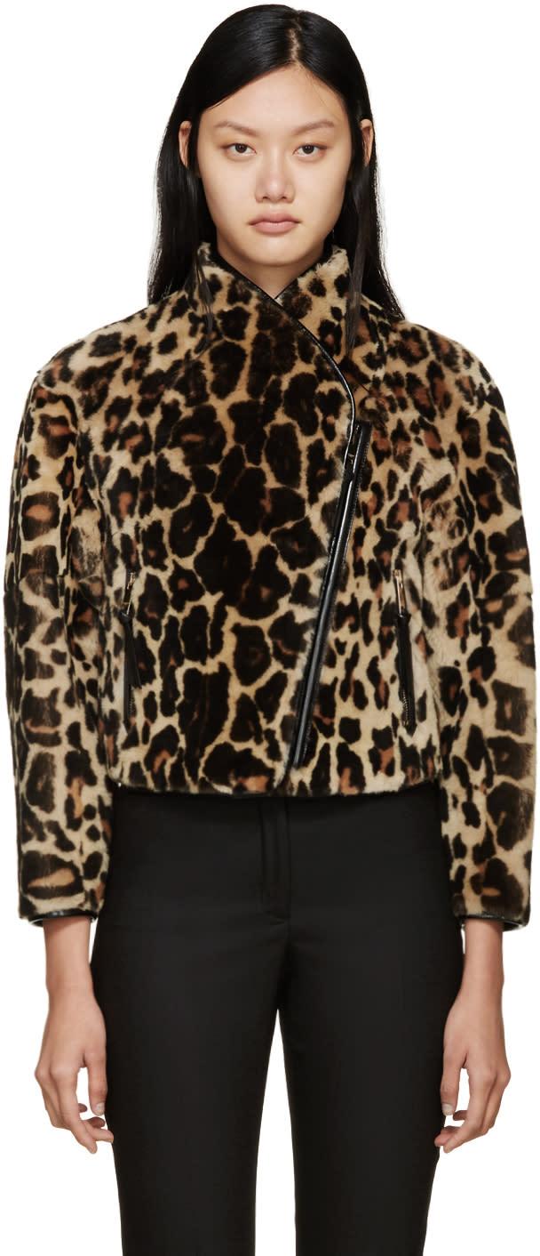 Burberry Prorsum Leopard Print Shearling Jacket