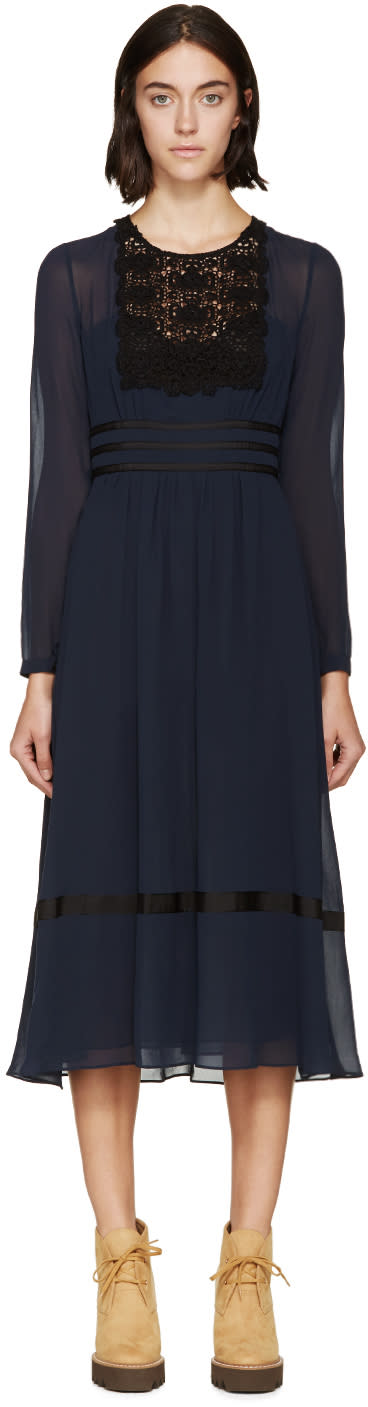 Burberry Prorsum Navy Silk and Lace Dress at SSENSE