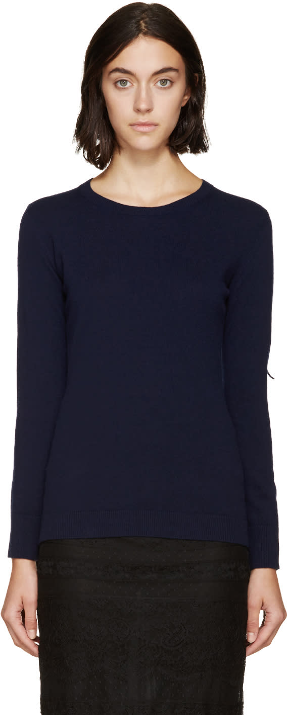 Burberry Prorsum Navy Fringed Knit Sweater