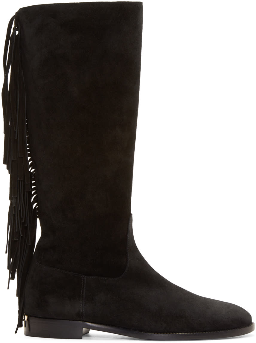 Burberry Prorsum Black Suede Fringed Boots