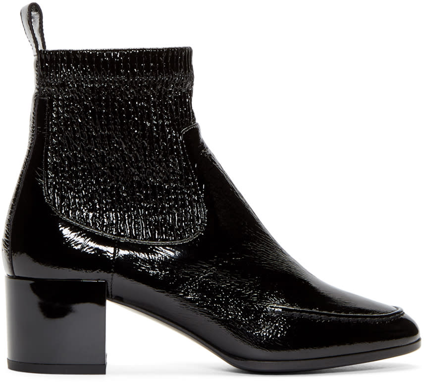 Pierre Hardy Black Patent Ace Ankle Boots