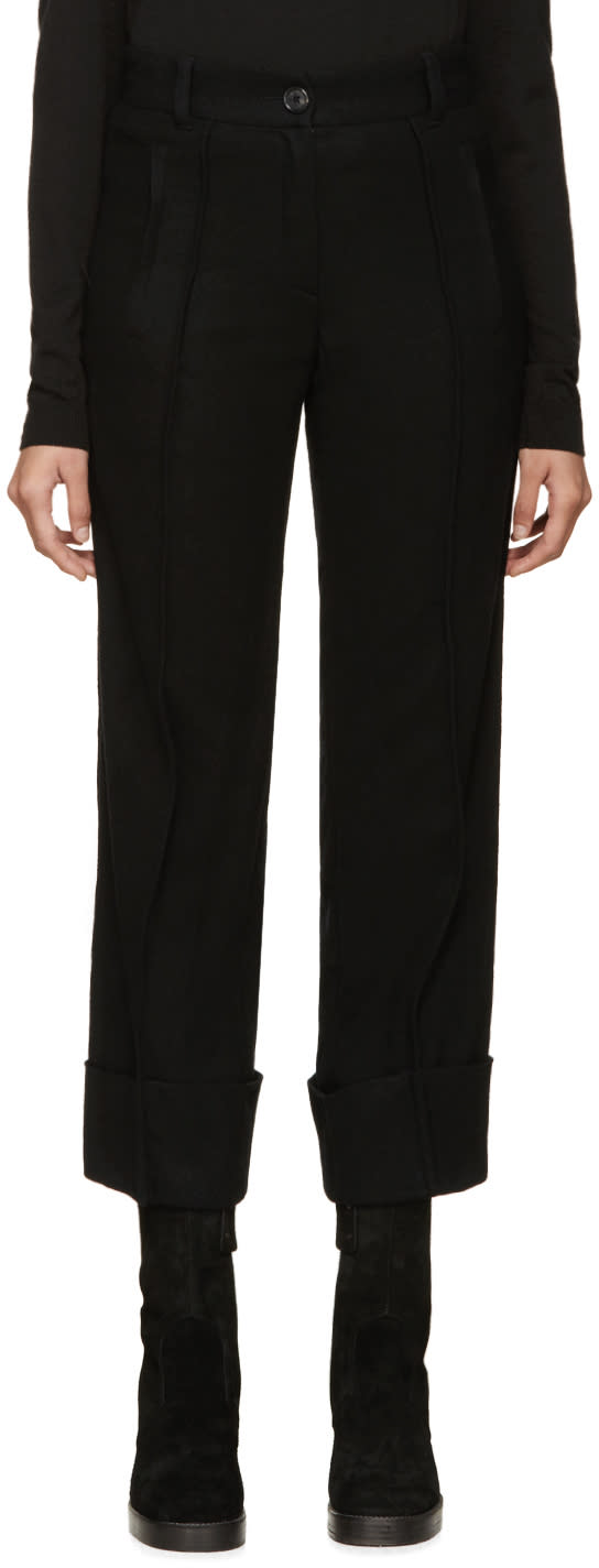 Ann Demeulemeester Black Cuffed Wool Trousers