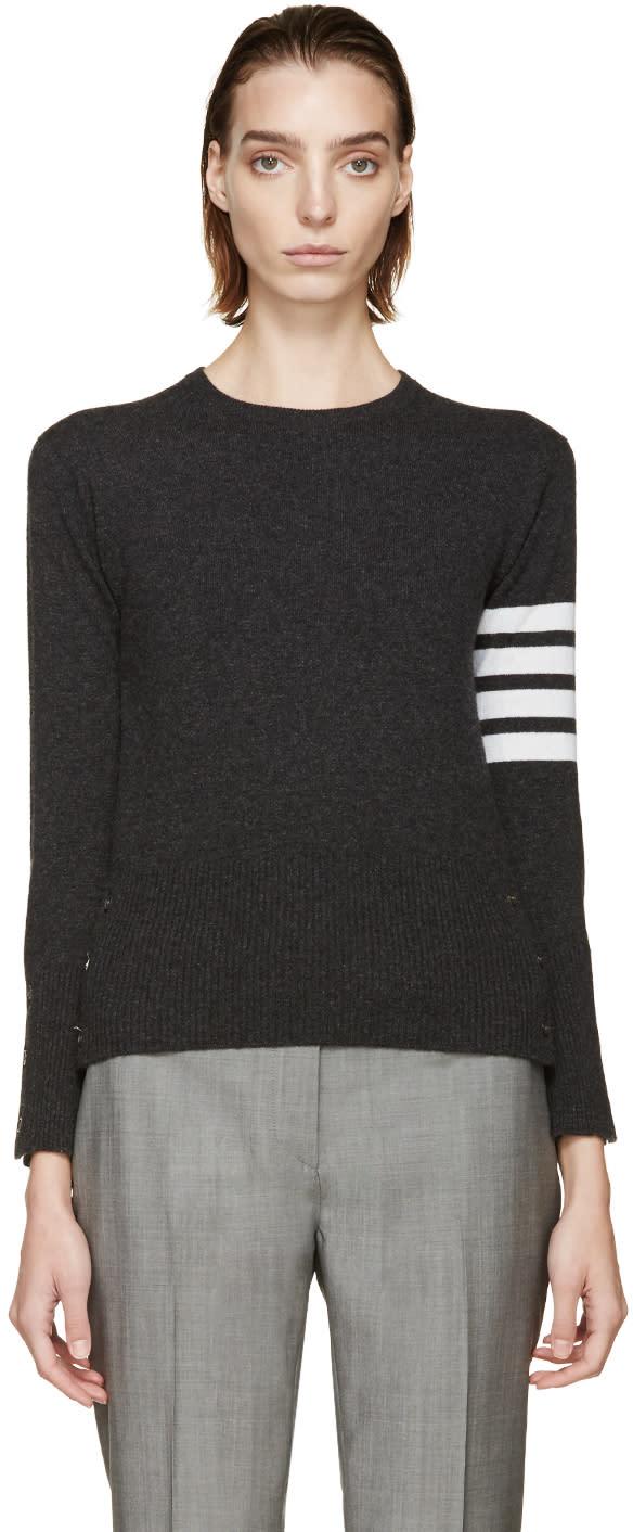 Thom Browne Charcoal Striped Armband Sweater