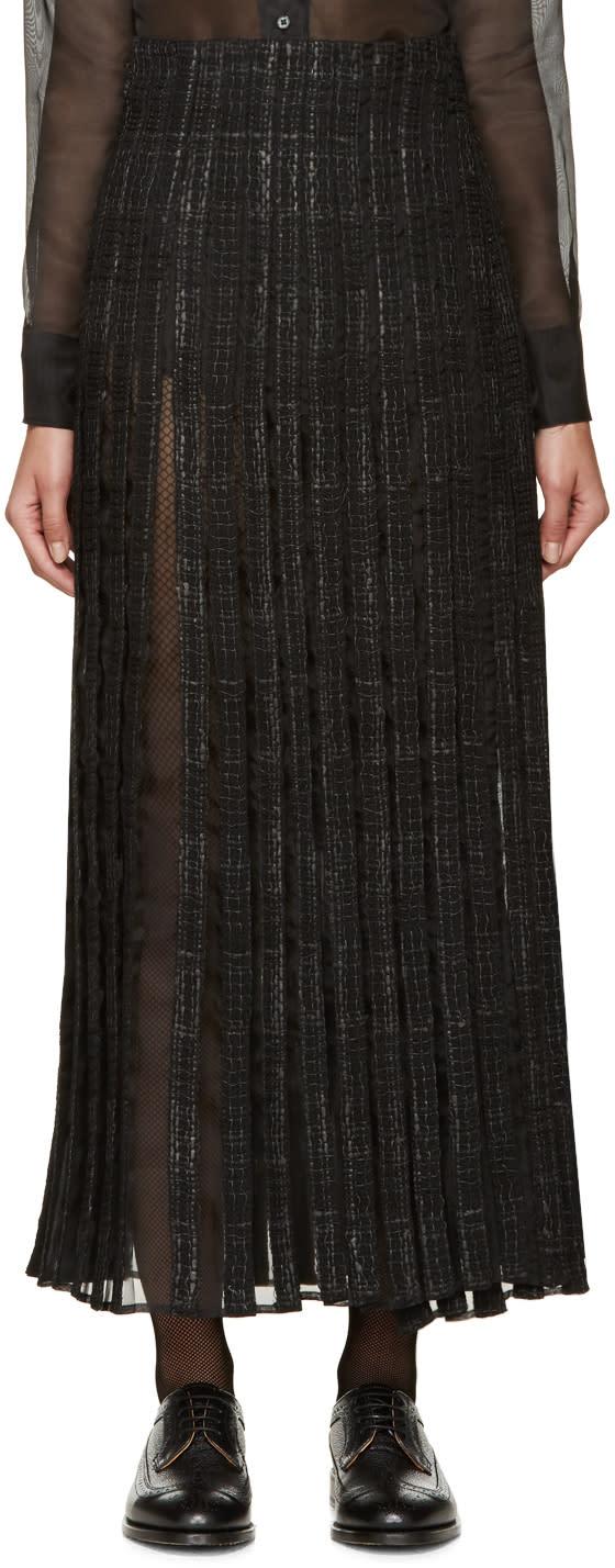 Thom Browne Black Tweed and Silk Wrap Skirt