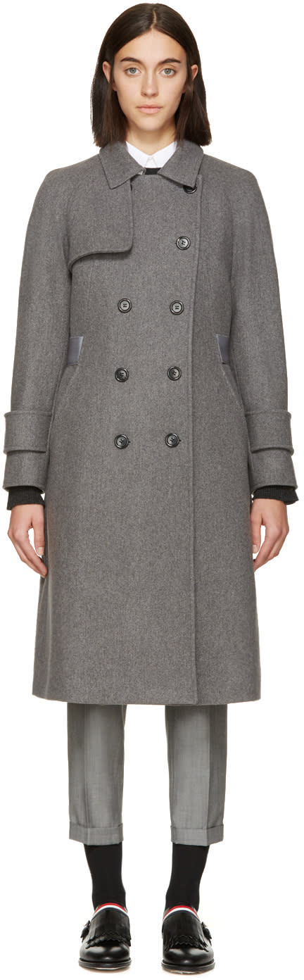 Thom Browne Grey Wool Belted Trench Coat