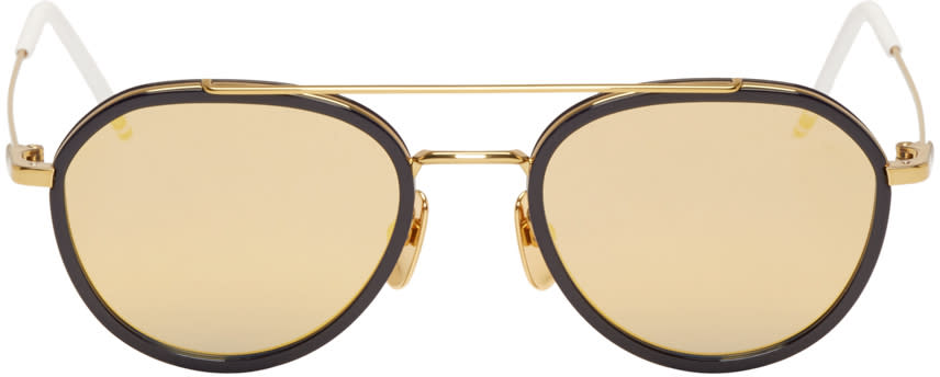 Thom Browne Navy and Gold Mirror Sunglasses