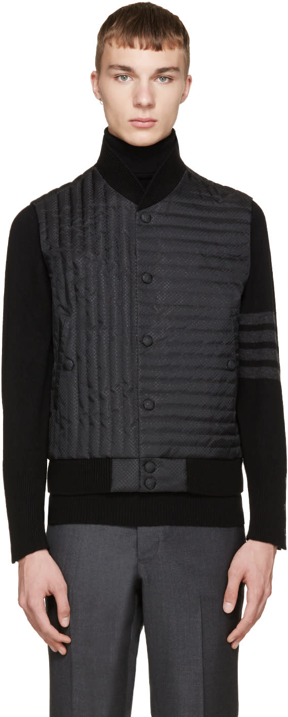 Thom Browne Black Quilted Fun Mix Vest