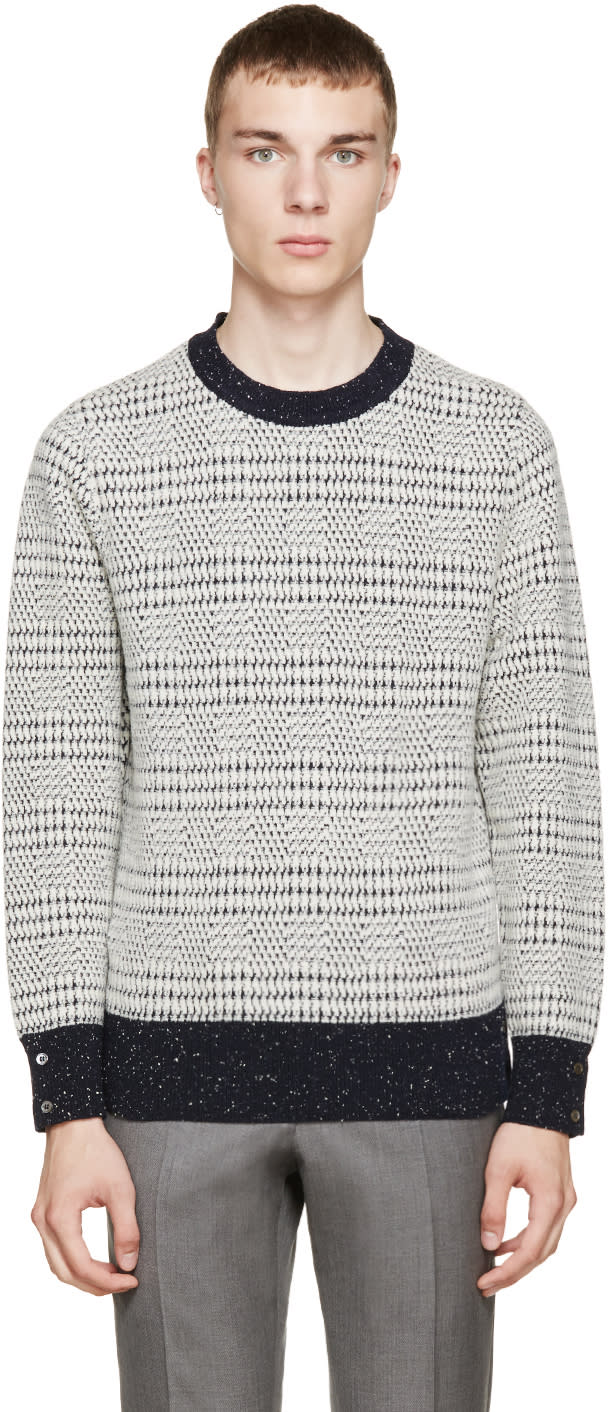 Thom Browne Navy and Ivory Wool Sweater