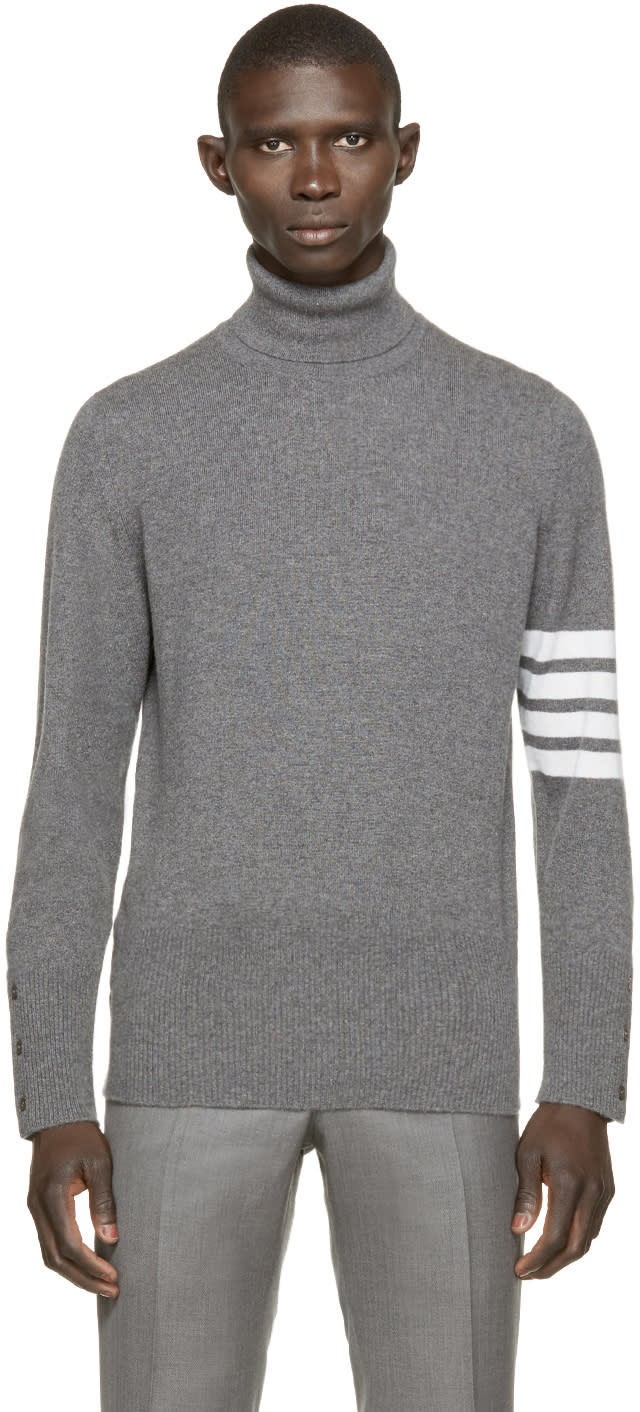 Thom Browne Grey Striped Cashmere Turtleneck