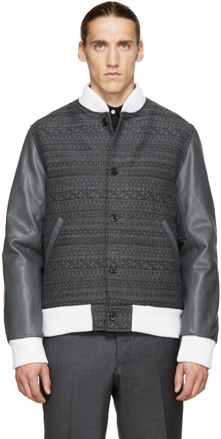 Thom Browne Grey Jacquard and Leather Bomber Jacket