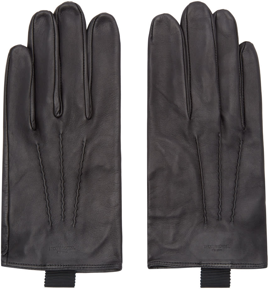 Thom Browne Black Sheep Leather Gloves