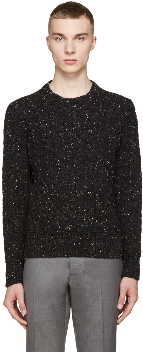 Thom Browne Black Cable Knit Confetti Sweater