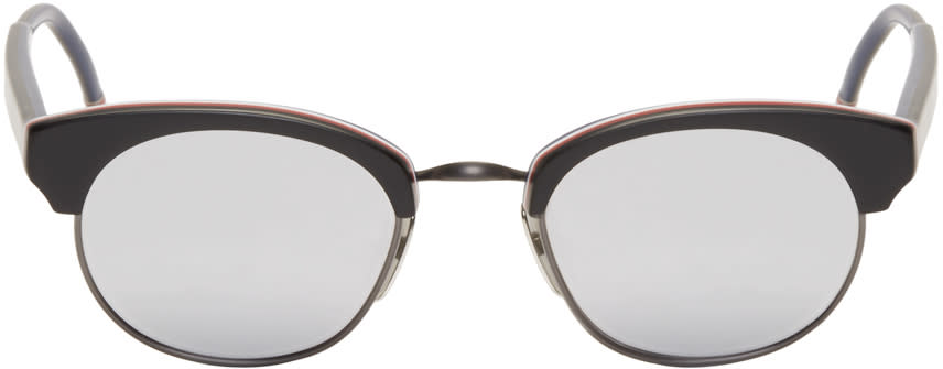 Image of Thom Browne Black and Silver Round Sunglasses