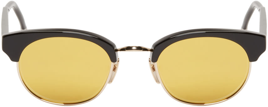 Image of Thom Browne Black and Gold Round Sunglasses