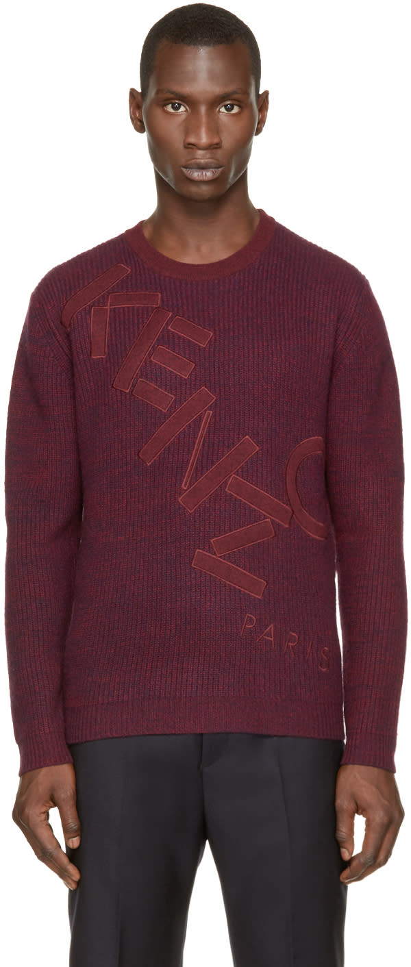 Kenzo Burgundy and Navy Knit Logo Sweater