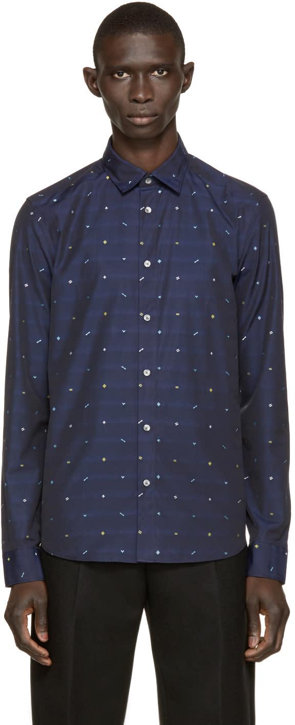 Kenzo Navy Confetti Embroidery Shirt
