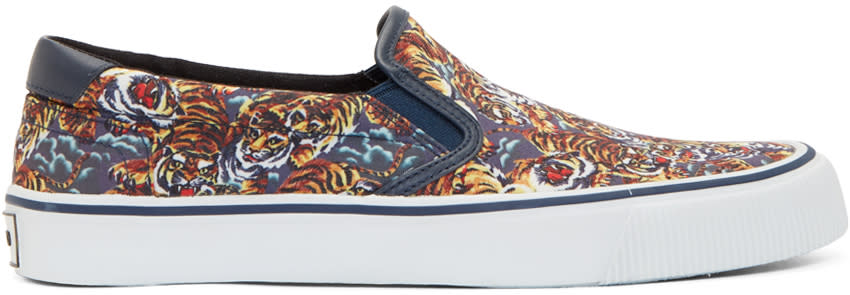 Kenzo Blue and Orange Flying Tiger Slip-on Sneakers