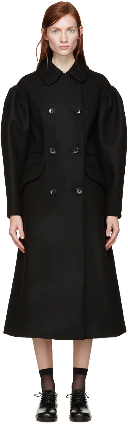Simone Rocha Black Double-breasted Wool Coat