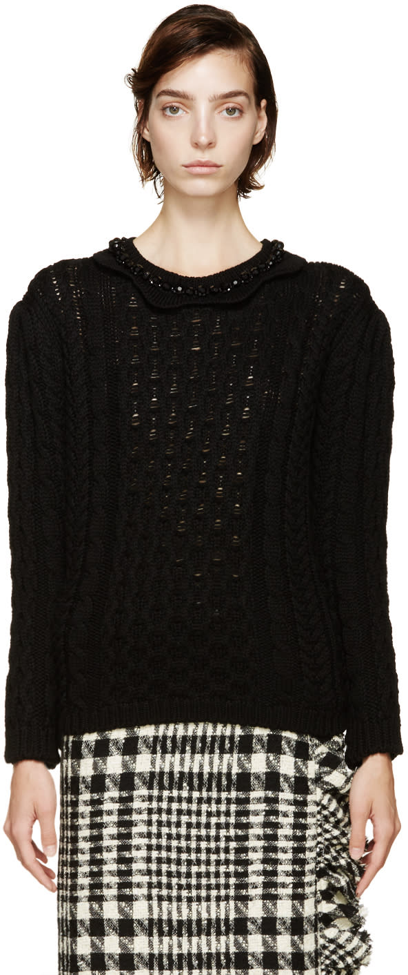 Image of Simone Rocha Black Beaded Collar Sweater