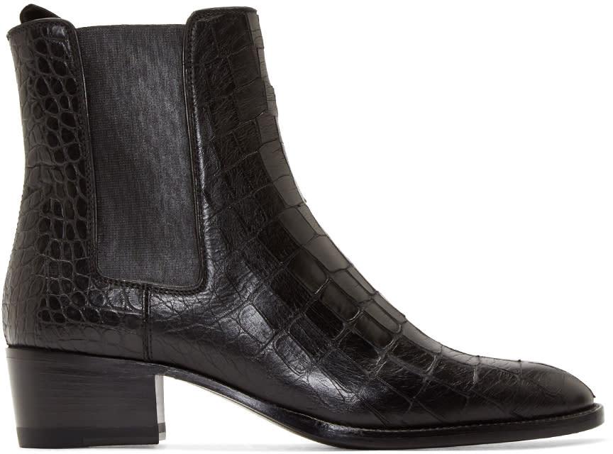 Saint Laurent Black Croc-embossed Leather Wyatt Boots